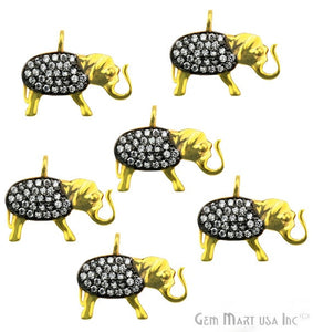 Elephant Charms Diamond CZ Pave Gold Plated Charm for Bracelet Pendants & Necklace (CHWS-40016) - GemMartUSA
