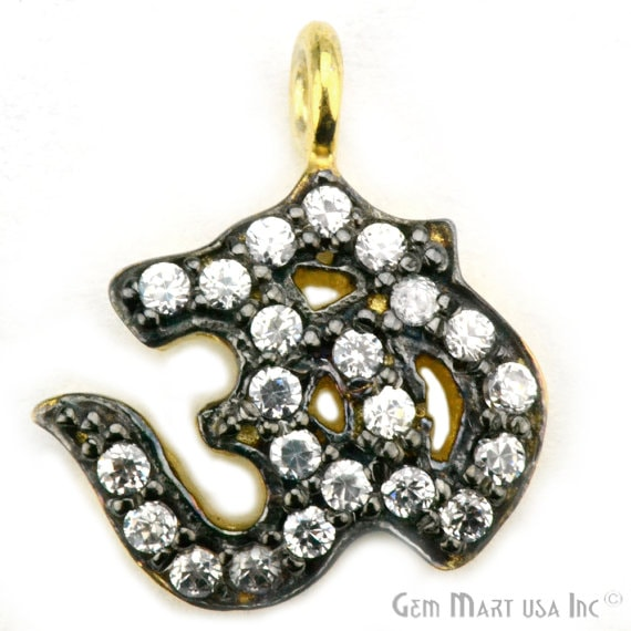 OM Charms Diamond CZ Pave Gold Plated Charm for Bracelet Pendants & Necklace (CHWS-40019)