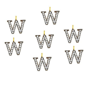 W Alphabet Charm Diamond CZ Pave Gold Plated Charm for Bracelet & Pendants (CHWS-40045)
