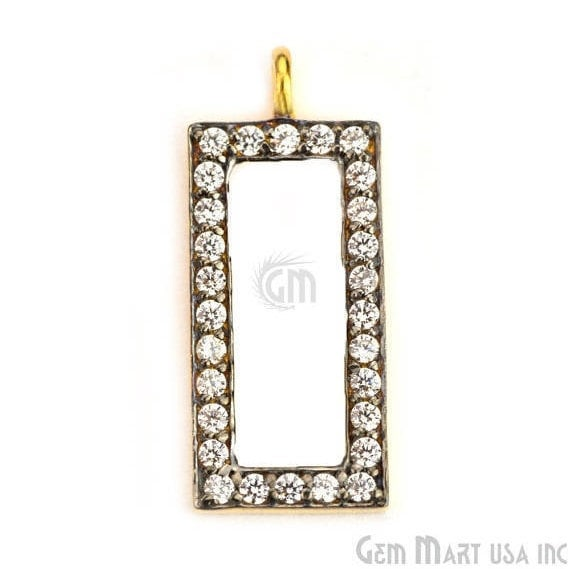 Rectangle Charms Diamond CZ Pave Gold Plated Charm for Bracelet Pendants & Necklace (CHWS-40053)