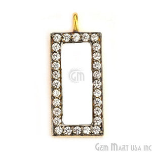 Rectangle Charms Diamond CZ Pave Gold Plated Charm for Bracelet Pendants & Necklace (CHWS-40053) - GemMartUSA
