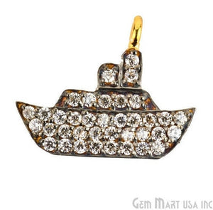Ship Charms Diamond CZ Pave Gold Plated Charm for Bracelet Pendants & Necklace (CHWS-40071) - GemMartUSA