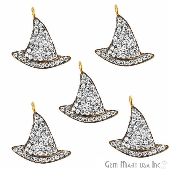 Witch Cap Charms Diamond CZ Pave Gold Plated Charm for Bracelet Pendants & Necklace (CHWS-40073)