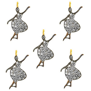 Dancing Girl Charms Diamond CZ Pave Gold Plated Charm for Bracelet Pendants & Necklace (CHWS-40081)