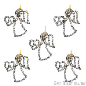 Face Angel Charms Diamond CZ Pave Gold Plated Charm for Bracelet Pendants & Necklace (CHWS-40082)
