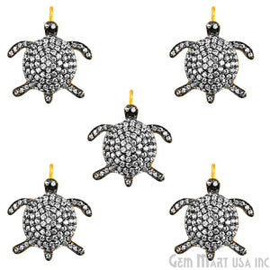 Tortoise Charms Diamond CZ Pave Gold Plated Charm for Bracelet Pendants & Necklace (CHWS-40092)