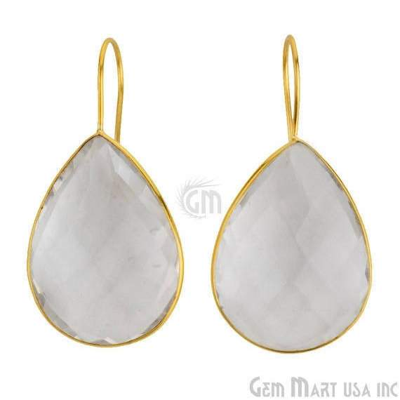 24k gold plated Crystal Bezel Pears shape 31x22mm Connector Earring (CLER-90016)