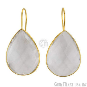24k gold plated Crystal Bezel Pears shape 31x22mm Connector Earring (CLER-90016) - GemMartUSA