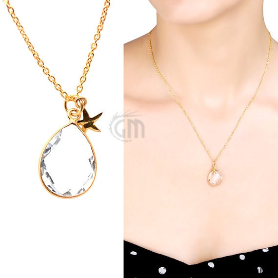 Crystal Bezel Necklace Gold Plated Star Charm Chain Pendant, 10x7mm Gold Plated Necklace Pendant