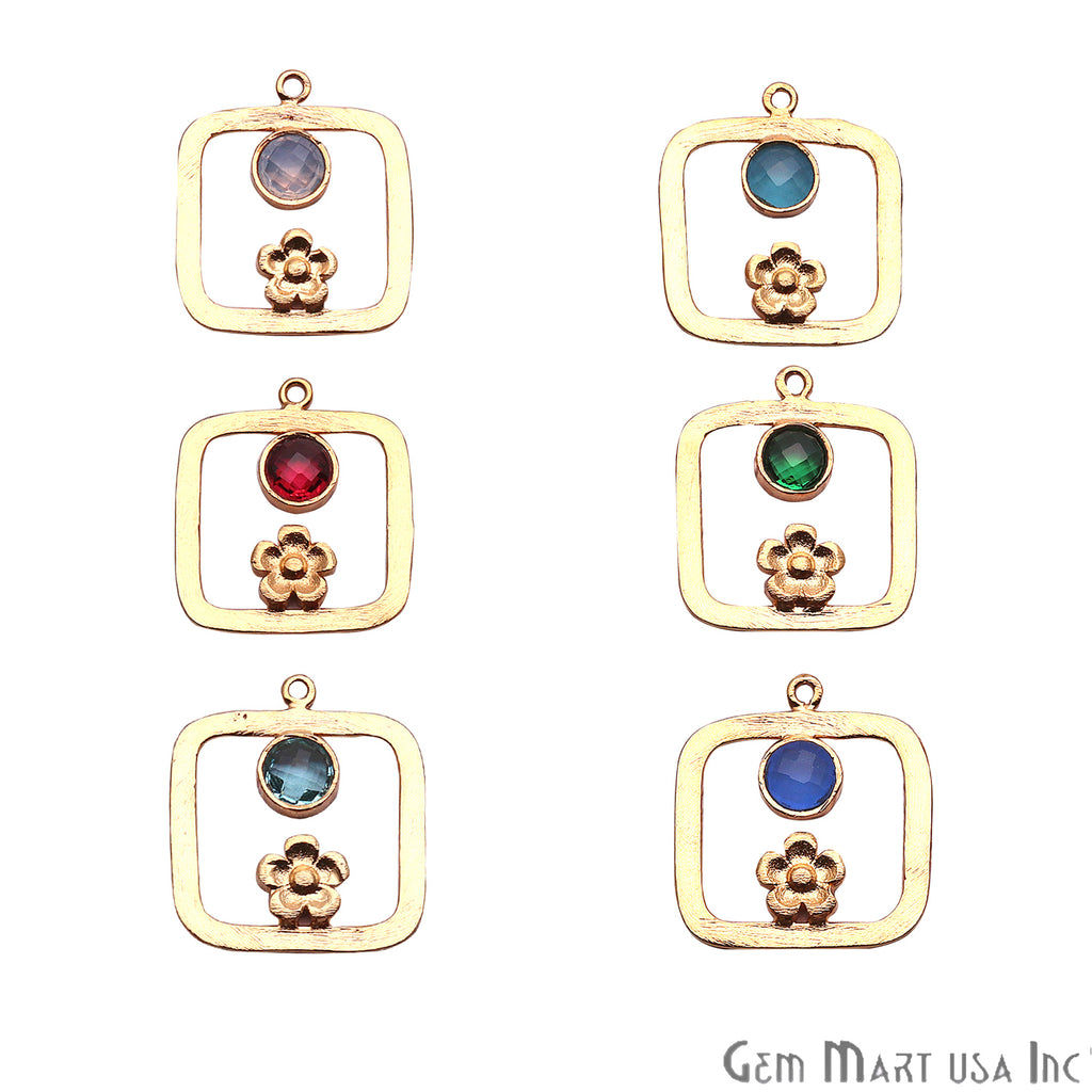 DIY Gold Plated Squre Shape Chandelier Gemstone Dangle Connector 1PC (Pick Your Gemstone)