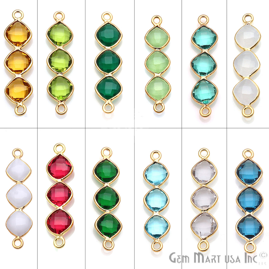 DIY Gemstone 29x7mm Gold Plated Chandelier Finding Component (Pick Your Gemstone)