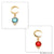 DIY Gemstone Round & Moon Shape Finding 30x12mm Gold Plated Pendant Connector 1pc (Pick Stone)