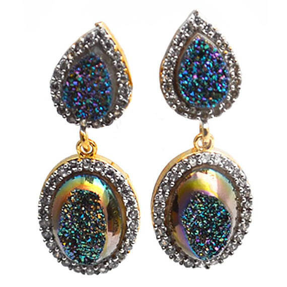 Green Druzy With Cubic Zirconia Pave 36X14mm Gold Plated Dangle Stud Earrings