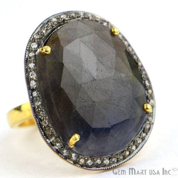 Blue Sapphire Cz Pave Diamond Ring, Gold Vermeil Prong Setting Gemstone, Gift Diamond Ring (CZRG-12017)