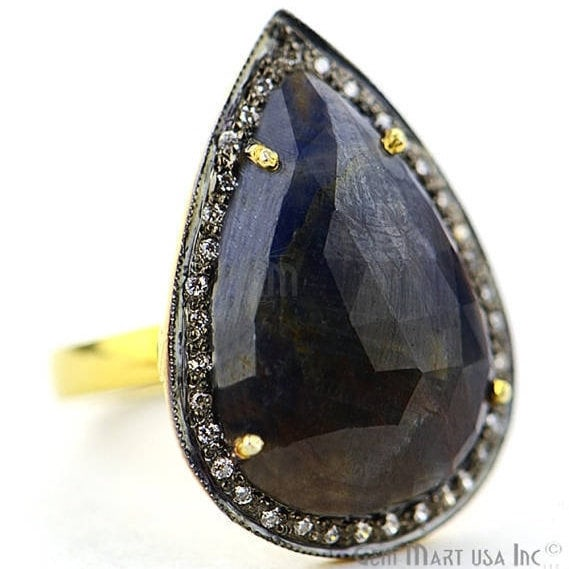Blue Sapphire Cz Pave Diamond Ring, Gold Vermeil Prong Setting Gemstone, Gift Diamond Ring (CZRG-12177)