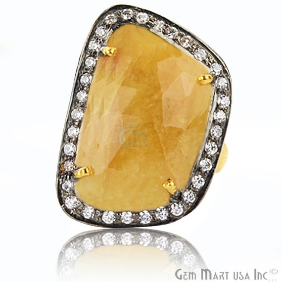 Yellow Sapphire Cz Pave Diamond Ring, Gold Vermeil Prong Setting Gemstone, Gift Diamond Ring (CZRG-12404)