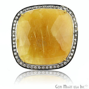 Yellow Sapphire Cz Pave Diamond Ring, Gold Vermeil Prong Setting Gemstone, Gift Diamond Ring (CZRG-12405)