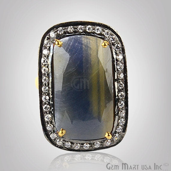 Sapphire Cz Pave Diamond Ring, Gold Vermeil Prong Setting Gemstone, Gift Diamond Ring (CZRG-12448)