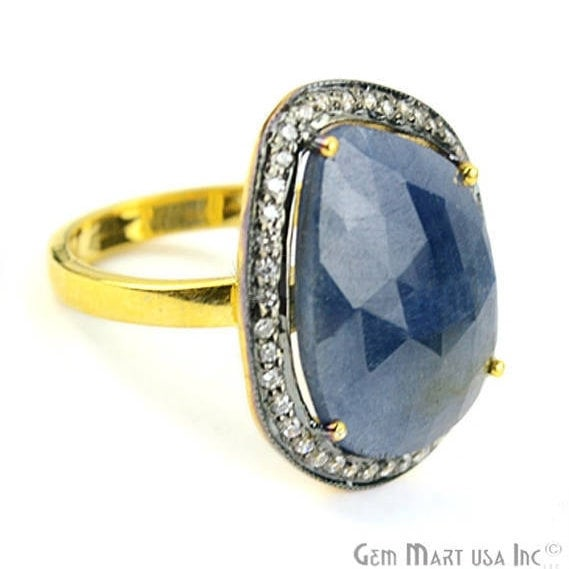 Sapphire Cz Pave Diamond Ring, Gold Vermeil Prong Setting Gemstone, Gift Diamond Ring (CZRG-12476)