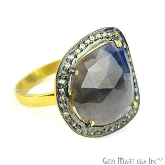Sapphire Cz Pave Diamond Ring, Gold Vermeil Prong Setting Gemstone, Gift Diamond Ring (CZRG-12482)