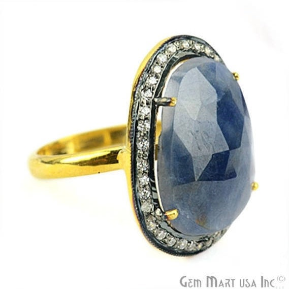 Sapphire Cz Pave Diamond Ring, Gold Vermeil Prong Setting Gemstone, Gift Diamond Ring (CZRG-12485)