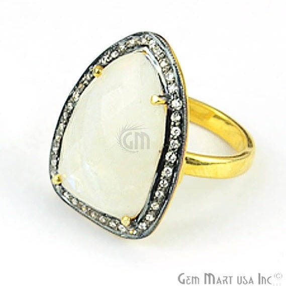 Sapphire Cz Pave Diamond Ring, Gold Vermeil Prong Setting Gemstone, Gift Diamond Ring (CZRG-12491)