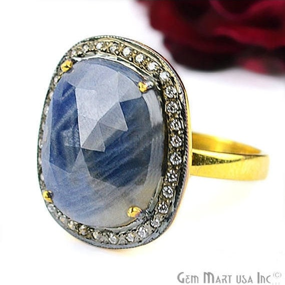 Sapphire Cz Pave Diamond Ring, Gold Vermeil Prong Setting Gemstone, Gift Diamond Ring (CZRG-12525)