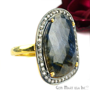 Sapphire Cz Pave Diamond Ring, Gold Vermeil Prong Setting Gemstone, Gift Diamond Ring (CZRG-12531)