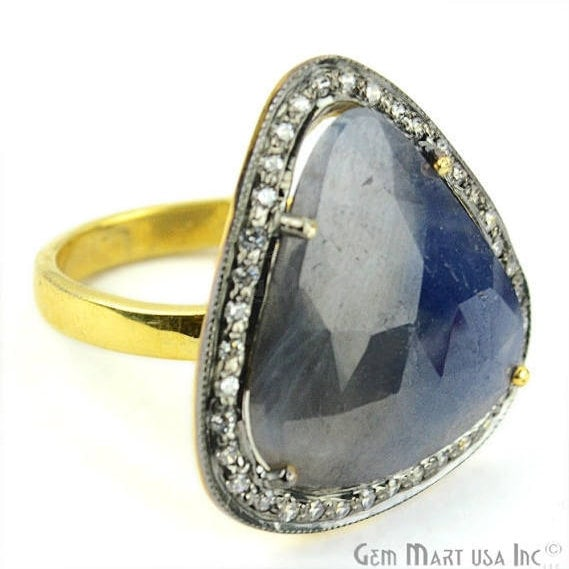 Sapphire Cz Pave Diamond Ring, Gold Vermeil Prong Setting Gemstone, Gift Diamond Ring (CZRG-12548)