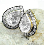 Polki Diamond & Cubic Zirconia Pave Pears Shape 17x13mm Gold Vermeil Stud Earring