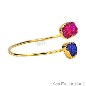 Elegant Adjustable Double Druzy Gemstone Stacking Bangle Bracelet