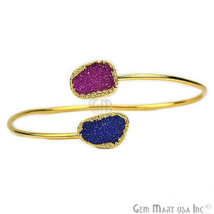 Elegant Adjustable Double Druzy Gemstone Stacking Bangle Bracelet - GemMartUSA