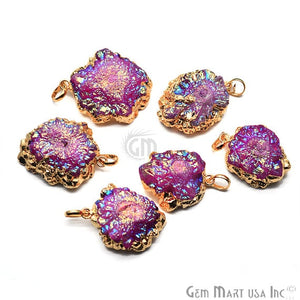 Pink Titanium Rough Druzy 36x29mm Gold Electroplated Edge Single Bail Necklace Pendant