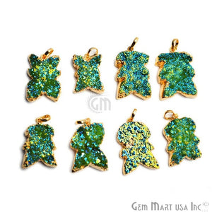 Green Titanium Rough Druzy 33x23mm Gold Electroplated Edge Single Bail Necklace Pendant - GemMartUSA