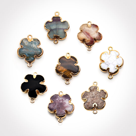 Flower Shape Gemstone Gold Edged Connector Charm (Pick Your Gemstone, Bail)
