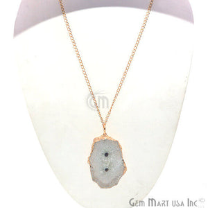 One Of A Kind Solar druzy 44x72mm Gold Electroplated Single Bail 34 Inch Necklace Chain Pendant - GemMartUSA