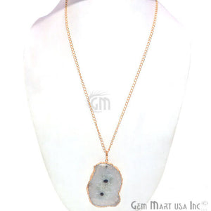 One Of A Kind Solar druzy 43x64mm Gold Electroplated Single Bail 34 Inch Necklace Chain Pendant - GemMartUSA
