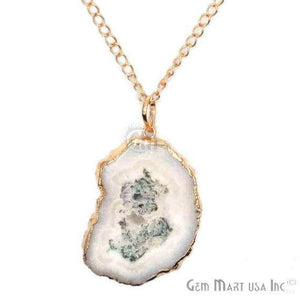One Of A Kind Solar druzy 48x58mm Gold Electroplated Single Bail 34 Inch Necklace Chain Pendant - GemMartUSA