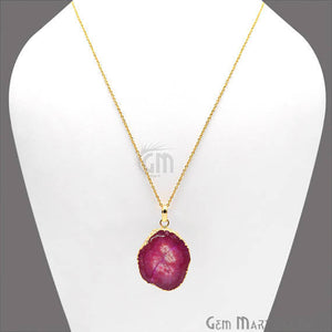 One Of A Kind Solar Druzy 27x37mm Gold Electroplated Single Bail 18 Inch Necklace Chain Pendant - GemMartUSA