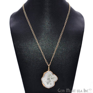 One Of A Kind Solar Druzy 48x34mm Gold Electroplated Single Bail 24 Inch Necklace Chain Pendant
