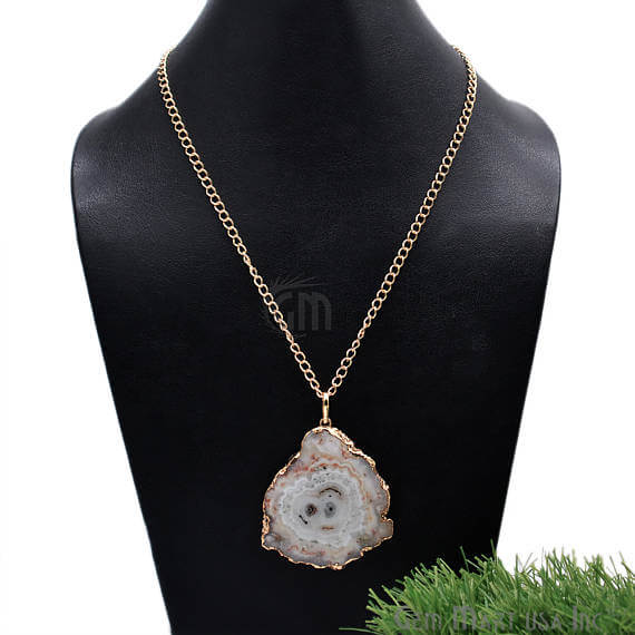 One Of A Kind Solar Druzy 54x46mm Gold Electroplated Single Bail 24 Inch Necklace Chain Pendant