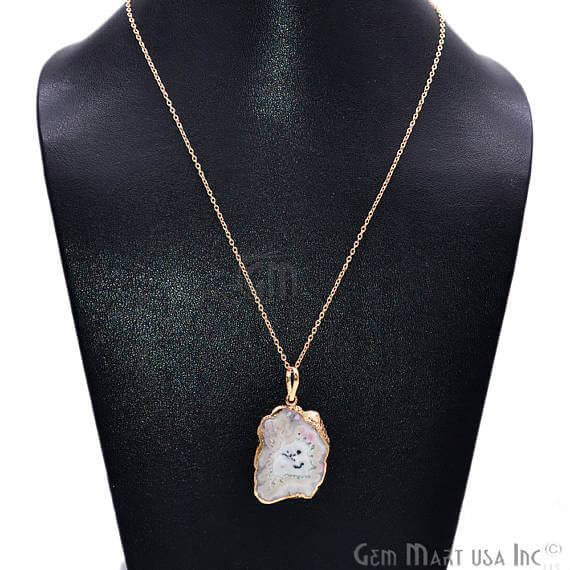 One Of A Kind Solar Druzy 38x25mm Gold Electroplated Single Bail 18 Inch Necklace Chain Pendant