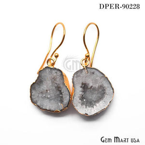 Grey Geode Organic Druzy 20X16mm Gold Electroplated Hook Earring