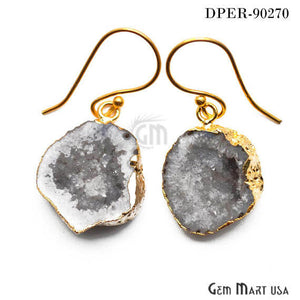 Grey Geode Organic Druzy 23X18mm Gold Electroplated Hook Earring - GemMartUSA