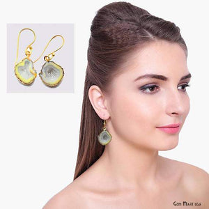 Geode Druzy Dangle Earrings, 22k Gold Electroplated Hook Earrings (DPER-90287)