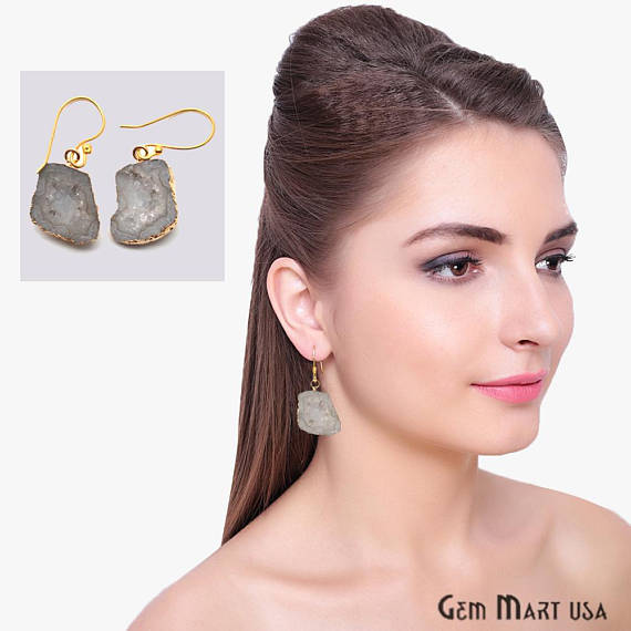 Geode Druzy Dangle Earrings, 22k Gold Electroplated Hook Earrings (DPER-90305)