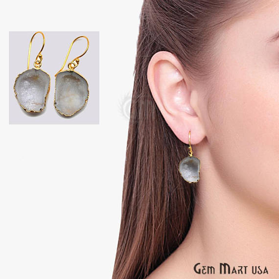 Geode Druzy Dangle Earrings, 22k Gold Electroplated Hook Earrings (DPER-90317)