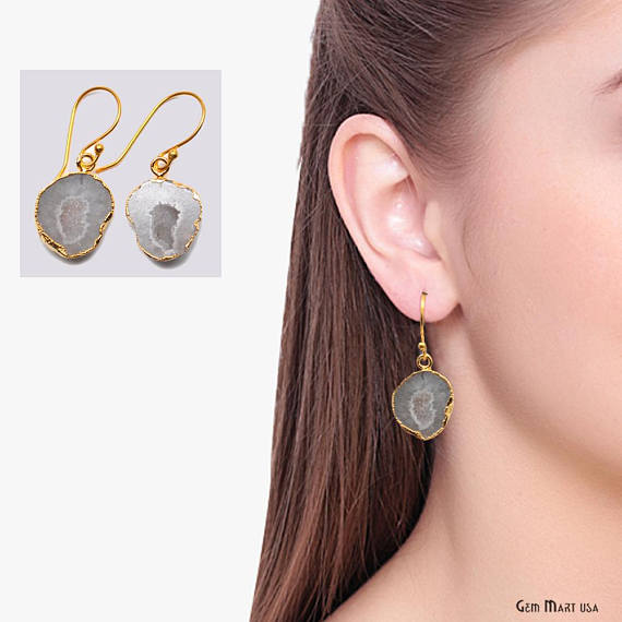 Geode Druzy Dangle Earrings, 22k Gold Electroplated Hook Earrings (DPER-90318)