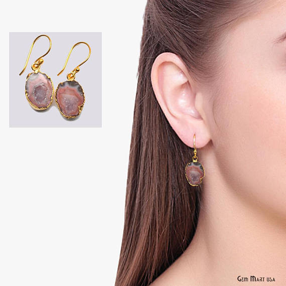 Geode Druzy Dangle Earrings, 22k Gold Electroplated Hook Earrings (DPER-90325)