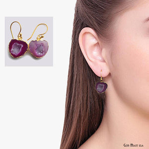 Geode Druzy Dangle Earrings, 22k Gold Electroplated Hook Earrings (DPER-90343) - GemMartUSA